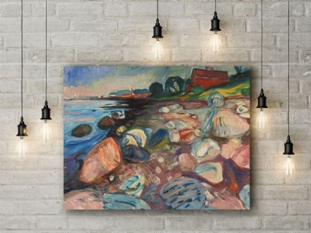 Edvard Munch: Shore with Red House. Fine Art Canvas.
